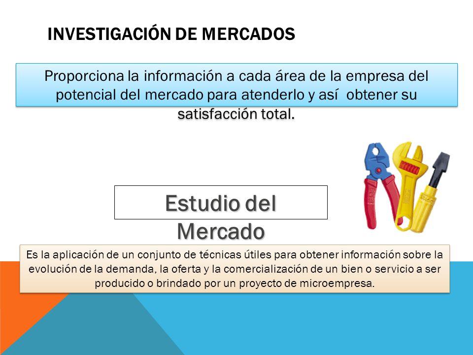 INVESTIGACIÓN DE MERCADOS Proporciona la información a cada área de la empresa del potencial del mercado para atenderlo y así obtener su satisfacción