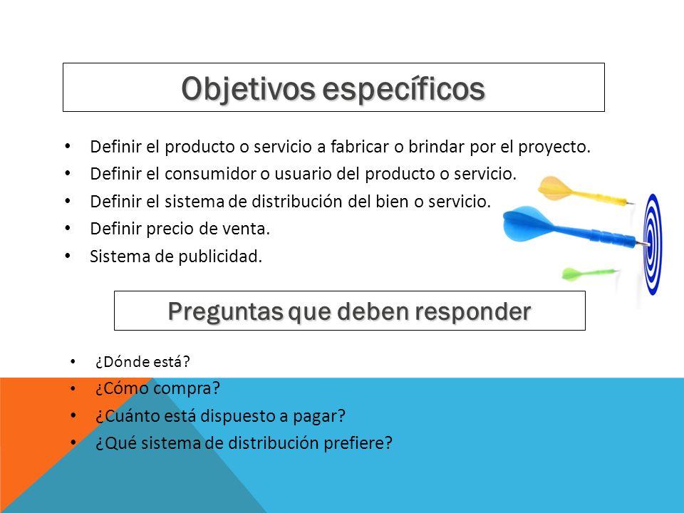 Objetivos específicos Definir el producto o servicio a fabricar o brindar por el proyecto. Definir el consumidor o usuario del producto o servicio. De
