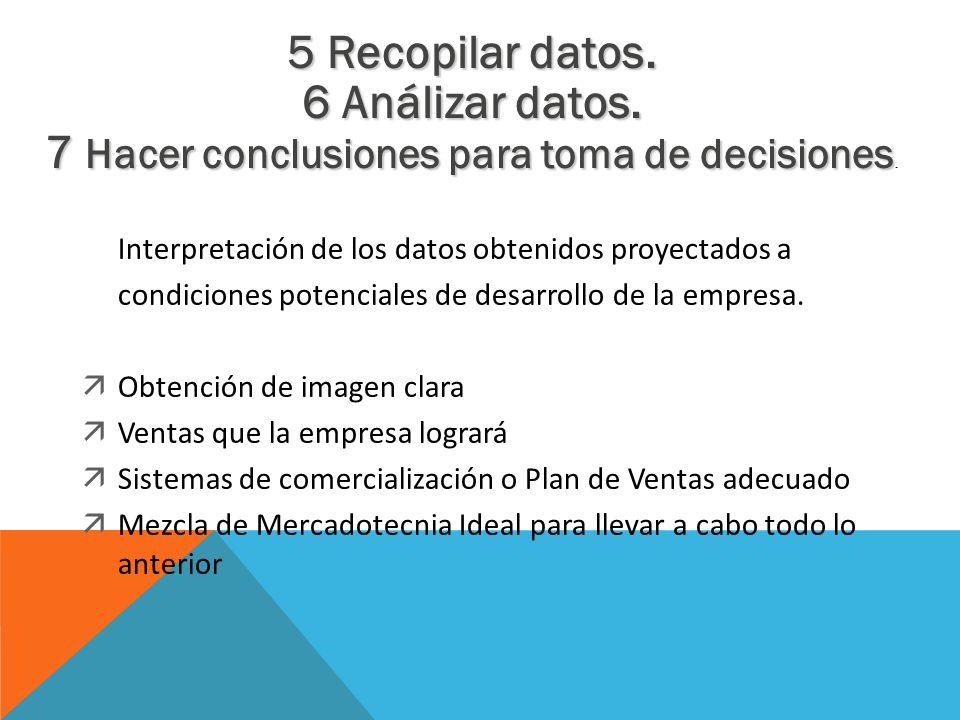 5 Recopilar datos. 6 Análizar datos. 7 Hacer conclusiones para toma de decisiones 7 Hacer conclusiones para toma de decisiones. Interpretación de los