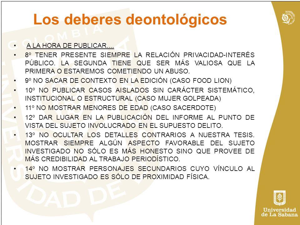 Los deberes deontológicos A LA HORA DE PUBLICAR....