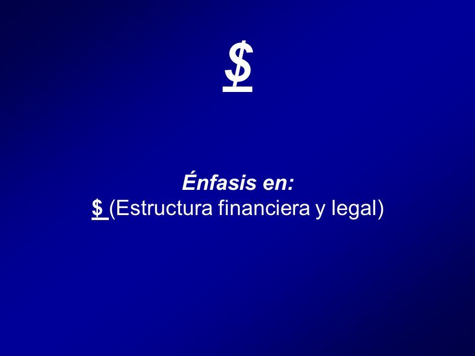 $ Énfasis en: $ (Estructura financiera y legal)