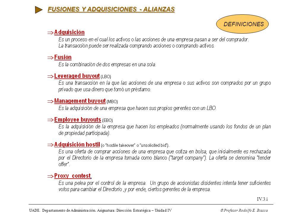 UADE. Departamento de Administración. Asignatura: Dirección Estratégica – Unidad IV Profesor Rodolfo E. Biasca IV.3.i FUSIONES Y ADQUISICIONES - ALIAN