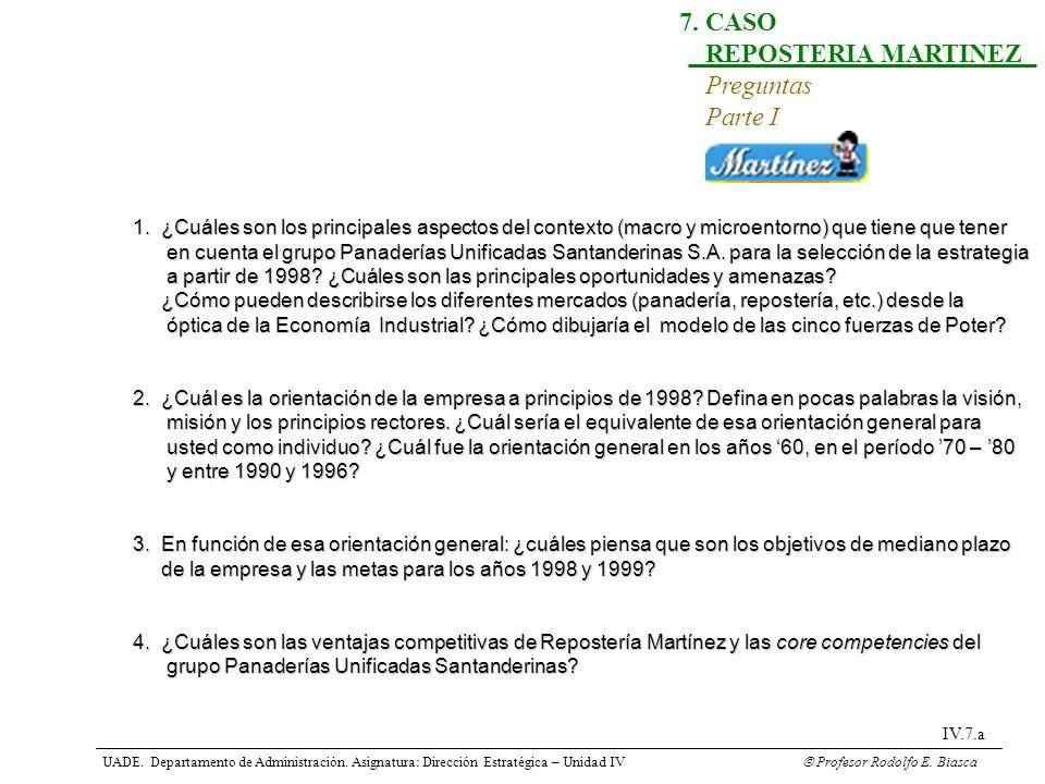 UADE. Departamento de Administración. Asignatura: Dirección Estratégica – Unidad IV Profesor Rodolfo E. Biasca IV.7.a 7. CASO REPOSTERIA MARTINEZ Preg