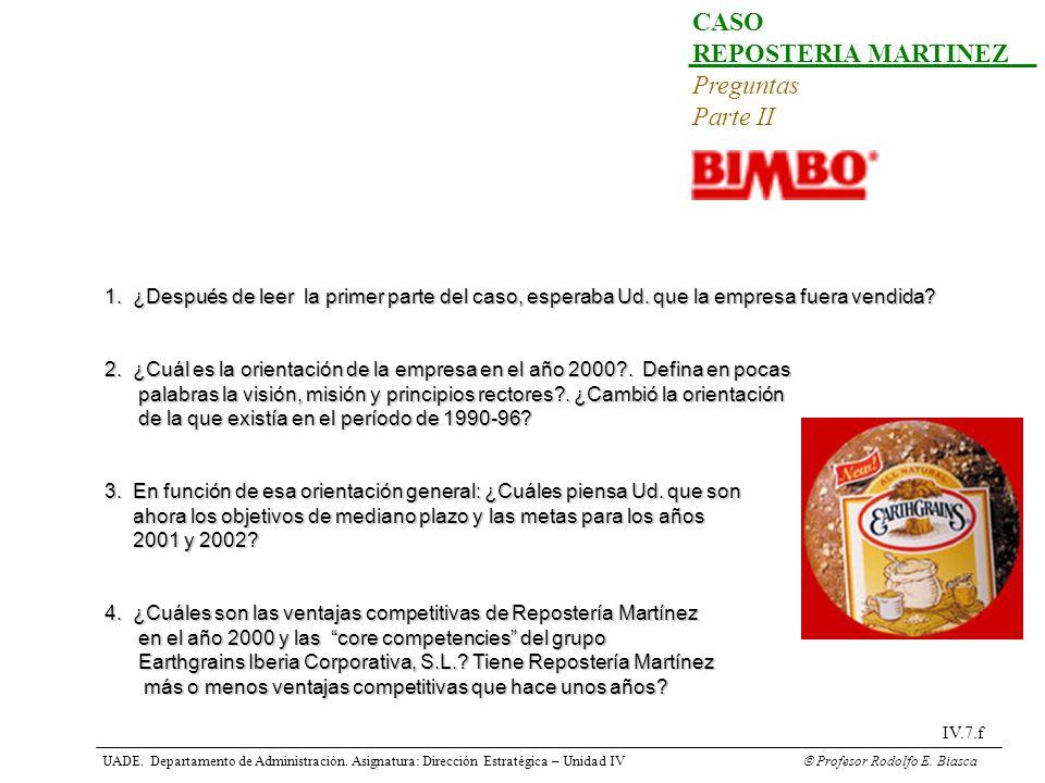UADE. Departamento de Administración. Asignatura: Dirección Estratégica – Unidad IV Profesor Rodolfo E. Biasca IV.7.f CASO REPOSTERIA MARTINEZ Pregunt