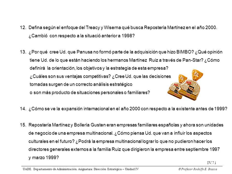 12. Defina según el enfoque del Treacy y Wiserna qué busca Repostería Martínez en el año 2000. ¿Cambió con respecto a la situació anterior a 1998? ¿Ca