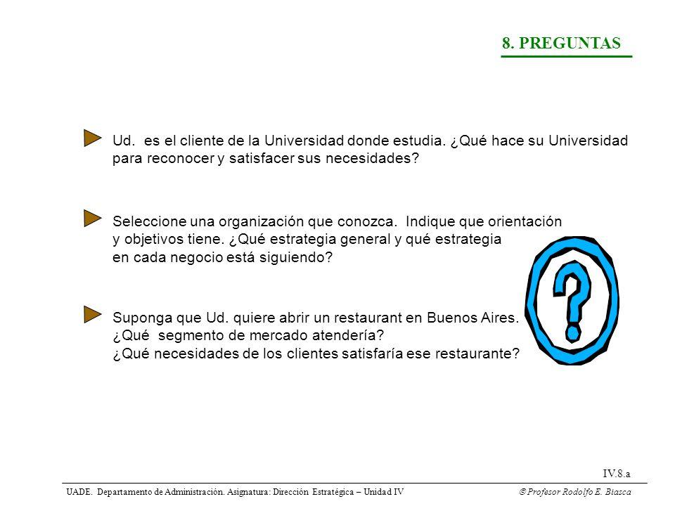8. PREGUNTAS Ud. es el cliente de la Universidad donde estudia. ¿Qué hace su Universidad para reconocer y satisfacer sus necesidades? Seleccione una o