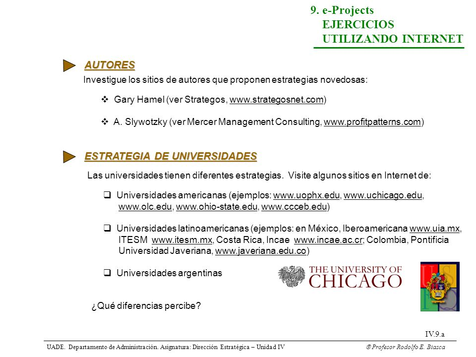 UADE. Departamento de Administración. Asignatura: Dirección Estratégica – Unidad IV Profesor Rodolfo E. Biasca IV.9.a 9. e-Projects EJERCICIOS UTILIZA