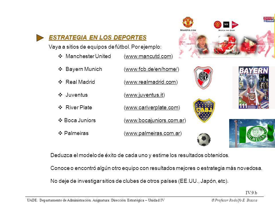 ESTRATEGIA EN LOS DEPORTES Vaya a sitios de equipos de fútbol. Por ejemplo: Manchester United (www.mancutd.com) Bayern Munich(www.fcb.de/en/home/) Rea