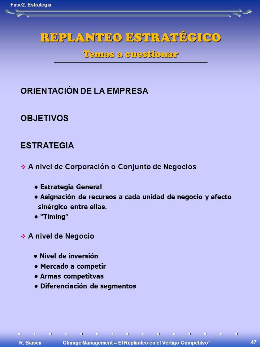 Change Management – El Replanteo en el Vértigo Competitvo R. Biasca 48 www.strategy-business.com
