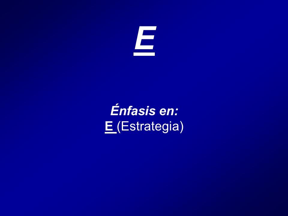 E Énfasis en: E (Estrategia)