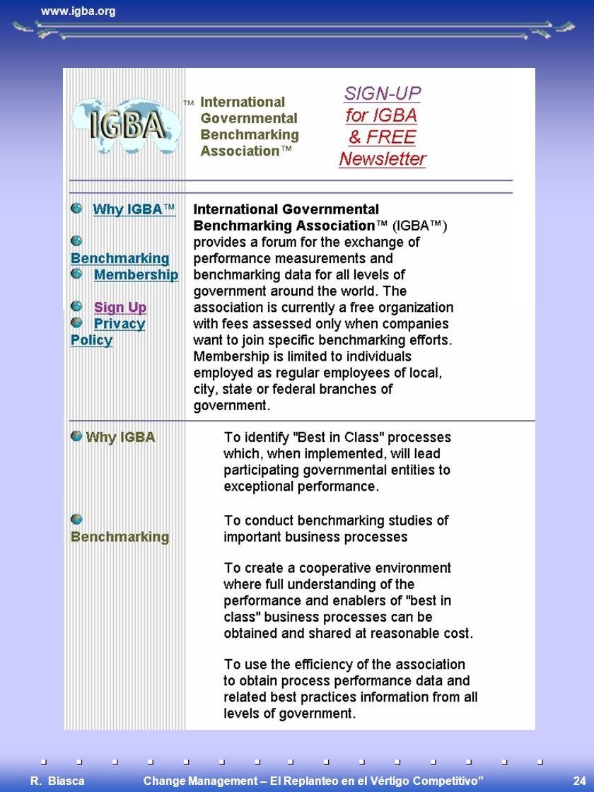 Change Management – El Replanteo en el Vértigo Competitivo R. Biasca 24 www.igba.org