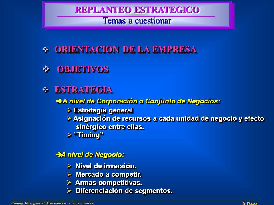 REPLANTEO ESTRATEGICO Temas a cuestionar REPLANTEO ESTRATEGICO Temas a cuestionar ORIENTACION DE LA EMPRESA ORIENTACION DE LA EMPRESA OBJETIVOS OBJETIVOS ESTRATEGIA ESTRATEGIA ORIENTACION DE LA EMPRESA ORIENTACION DE LA EMPRESA OBJETIVOS OBJETIVOS ESTRATEGIA ESTRATEGIA Estrategia general Estrategia general Asignación de recursos a cada unidad de negocio y efecto Asignación de recursos a cada unidad de negocio y efecto sinérgico entre ellas.