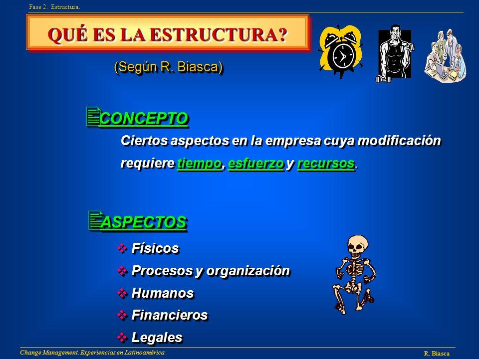 QUÉ ES LA ESTRUCTURA? Fase 2. Estructura. (Según R. Biasca) CONCEPTO CONCEPTO Ciertos aspectos en la empresa cuya modificación requiere tiempo, esfuer