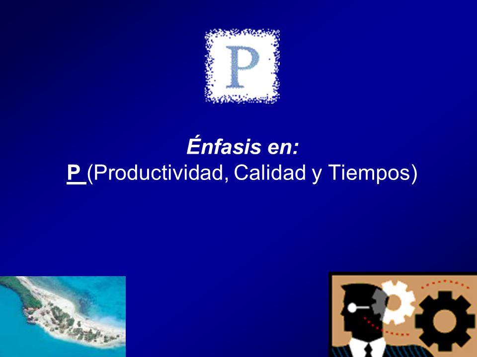 Énfasis en: P (Productividad, Calidad y Tiempos)