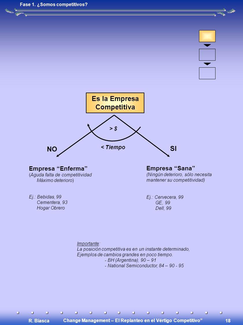 Change Management – El Replanteo en el Vértigo Competitivo R. Biasca 18 Es la Empresa Competitiva > $ < Tiempo NO SI Empresa Enferma (Aguda falta de c