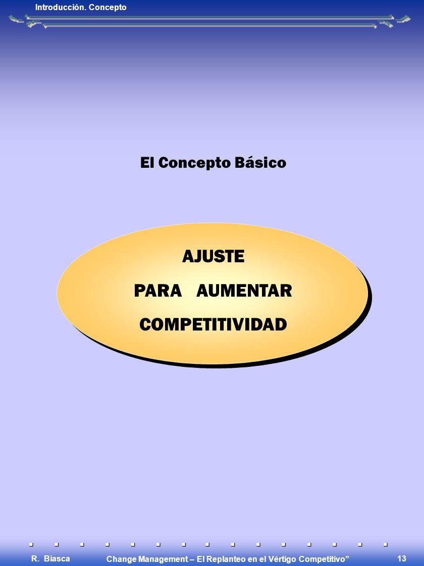Change Management – El Replanteo en el Vértigo Competitivo R. Biasca 12 EL CONCEPTO Introducción. Concepto