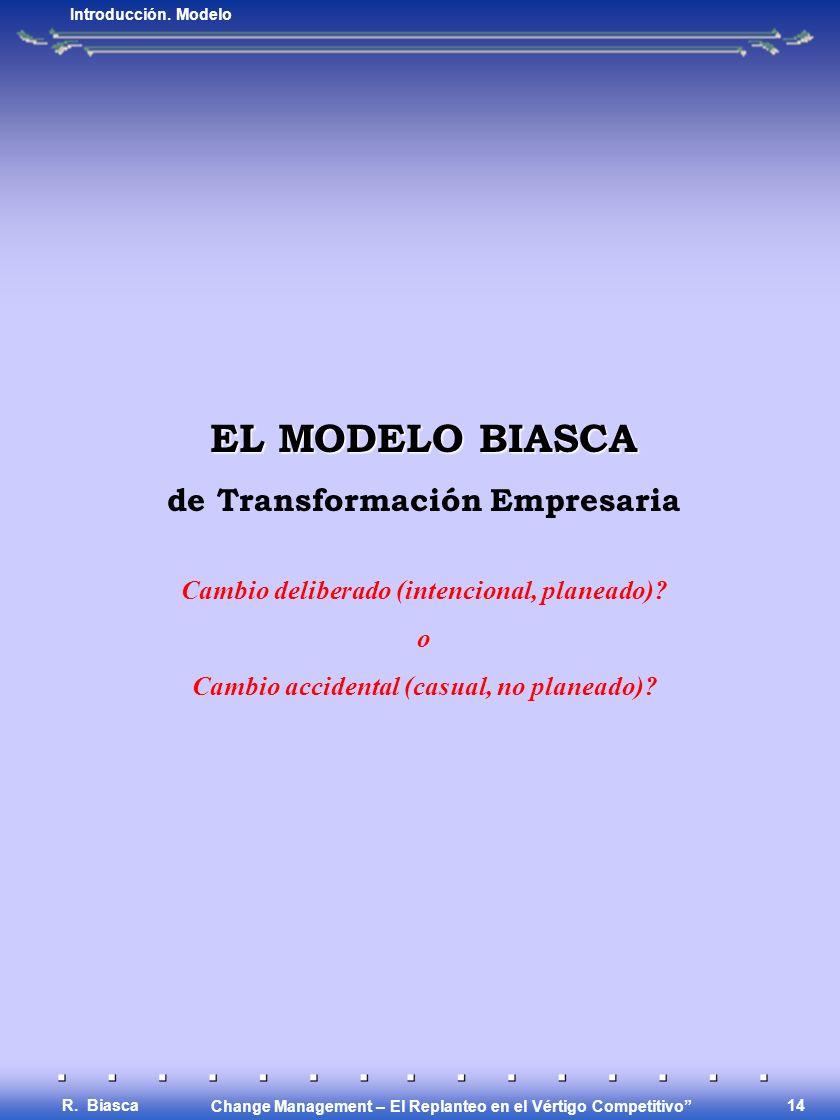 Change Management – El Replanteo en el Vértigo Competitivo R. Biasca 13 El Concepto Básico AJUSTE PARA AUMENTAR COMPETITIVIDAD Introducción. Concepto