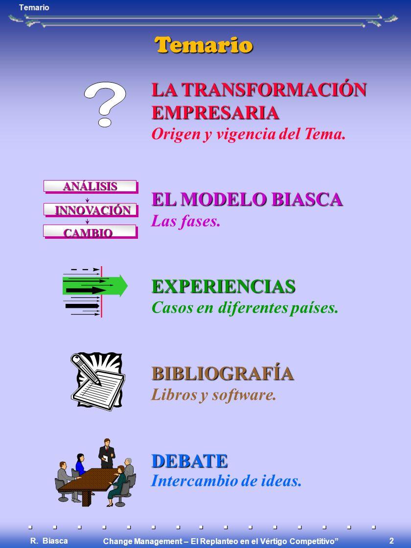 Change Management – El Replanteo en el Vértigo Competitivo R. Biasca 1 Change Management Experiencias en Latinoamérica Experiencias en Latinoamérica E