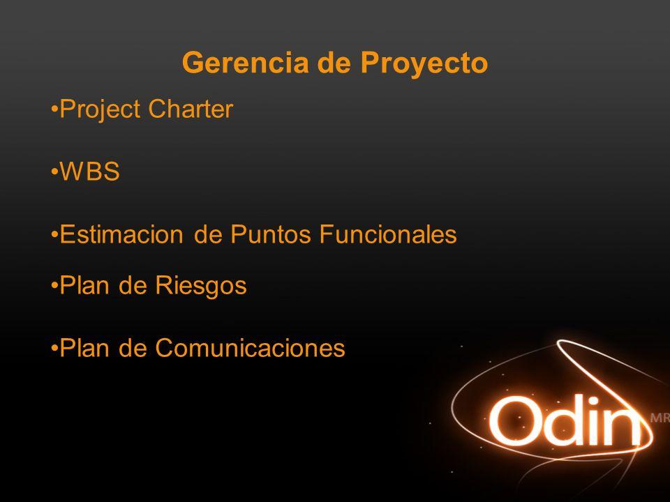 Gerencia de Proyecto Project Charter WBS Estimacion de Puntos Funcionales Plan de Riesgos Plan de Comunicaciones