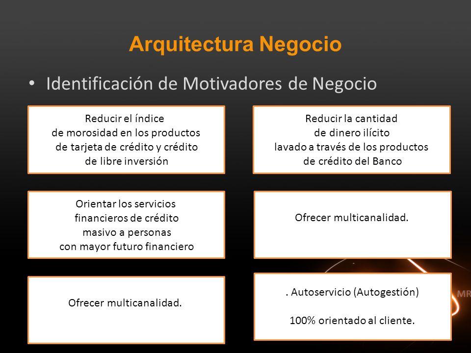 Arquitectura Negocio Identificación de Motivadores de Negocio Reducir el índice de morosidad en los productos de tarjeta de crédito y crédito de libre