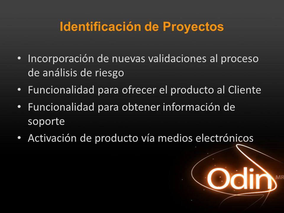 Identificación de Proyectos Incorporación de nuevas validaciones al proceso de análisis de riesgo Funcionalidad para ofrecer el producto al Cliente Fu