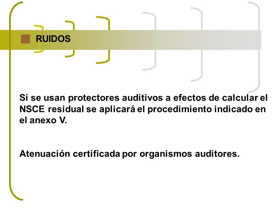 RUIDOS Si se usan protectores auditivos a efectos de calcular el NSCE residual se aplicará el procedimiento indicado en el anexo V. Atenuación certifi