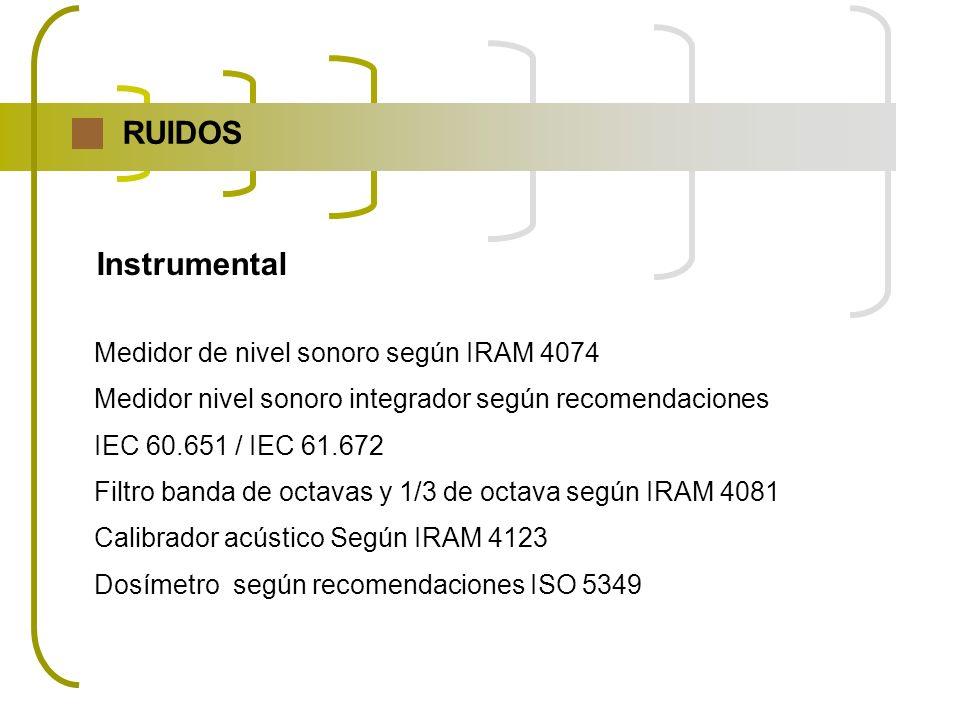 RUIDOS Instrumental Medidor de nivel sonoro según IRAM 4074 Medidor nivel sonoro integrador según recomendaciones IEC 60.651 / IEC 61.672 Filtro banda