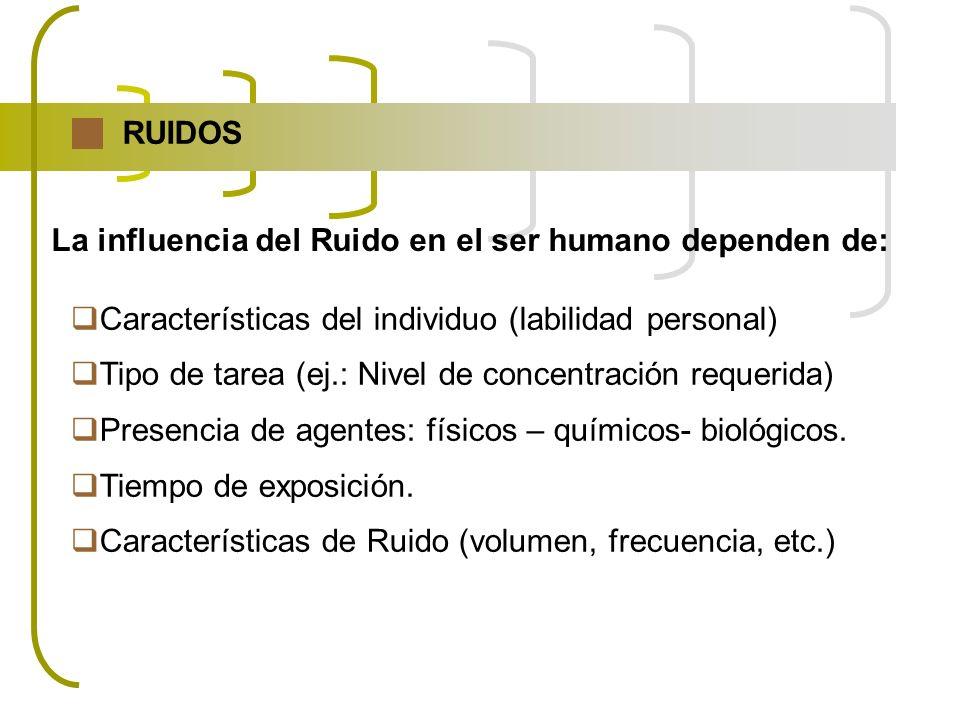 Características del individuo (labilidad personal) Tipo de tarea (ej.: Nivel de concentración requerida) Presencia de agentes: físicos – químicos- bio