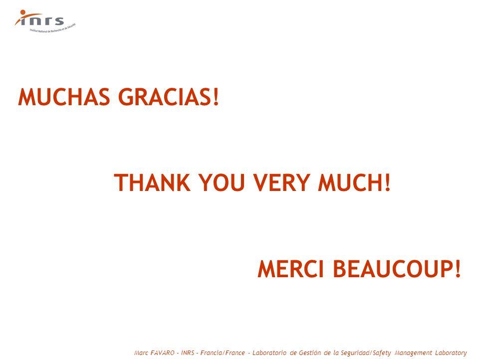 Marc FAVARO – INRS – Francia/France - Laboratorio de Gestión de la Seguridad/Safety Management Laboratory MUCHAS GRACIAS! THANK YOU VERY MUCH! MERCI B