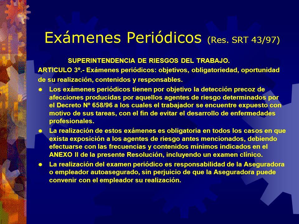 Exámenes Periódicos (Res. SRT 43/97) Acciones inmediatas NingunaSe separa del puesto de trabajo. Se decide o no tratamiento. Se evalúa el ambiente. Se