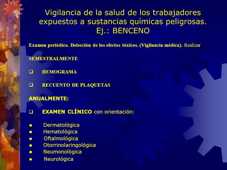 Vigilancia de la salud de los trabajadores expuestos a sustancias químicas peligrosas. Ej.: BENCENO Toxicidad. Intoxicación aguda: El Benceno se compo