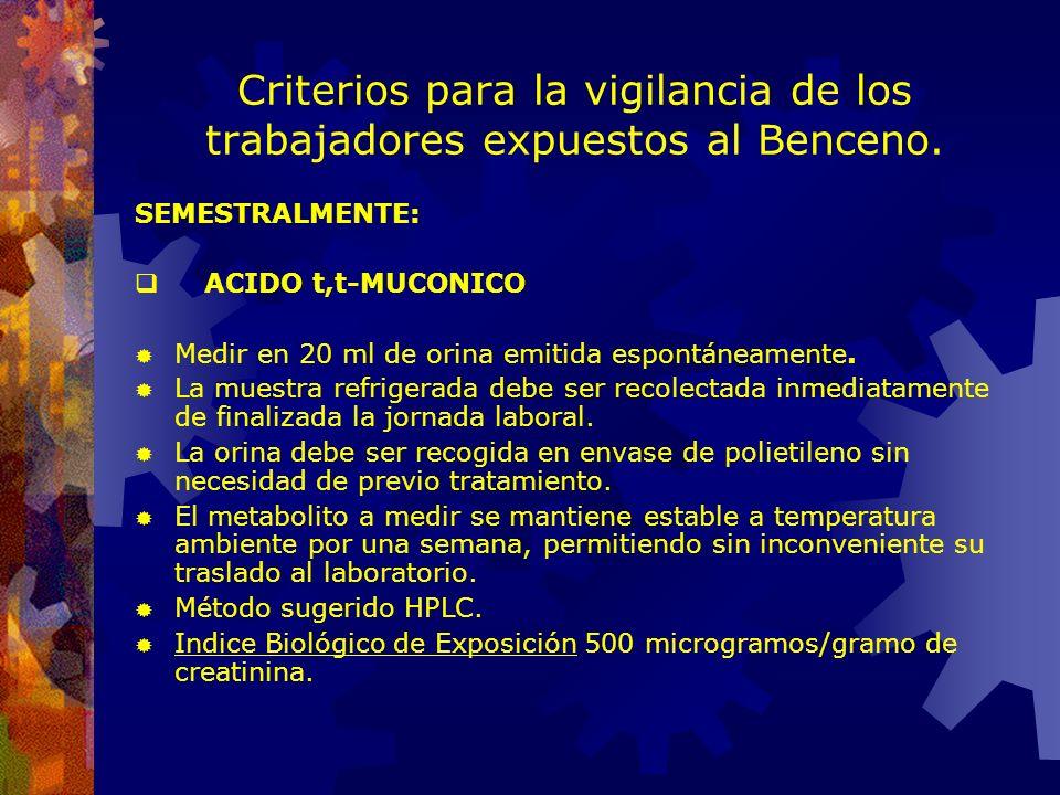 Vigilancia de la salud de los trabajadores expuestos a sustancias químicas peligrosas. Ej.: BENCENO Examen periódico (Vigilancia biológica) SEMESTRALM