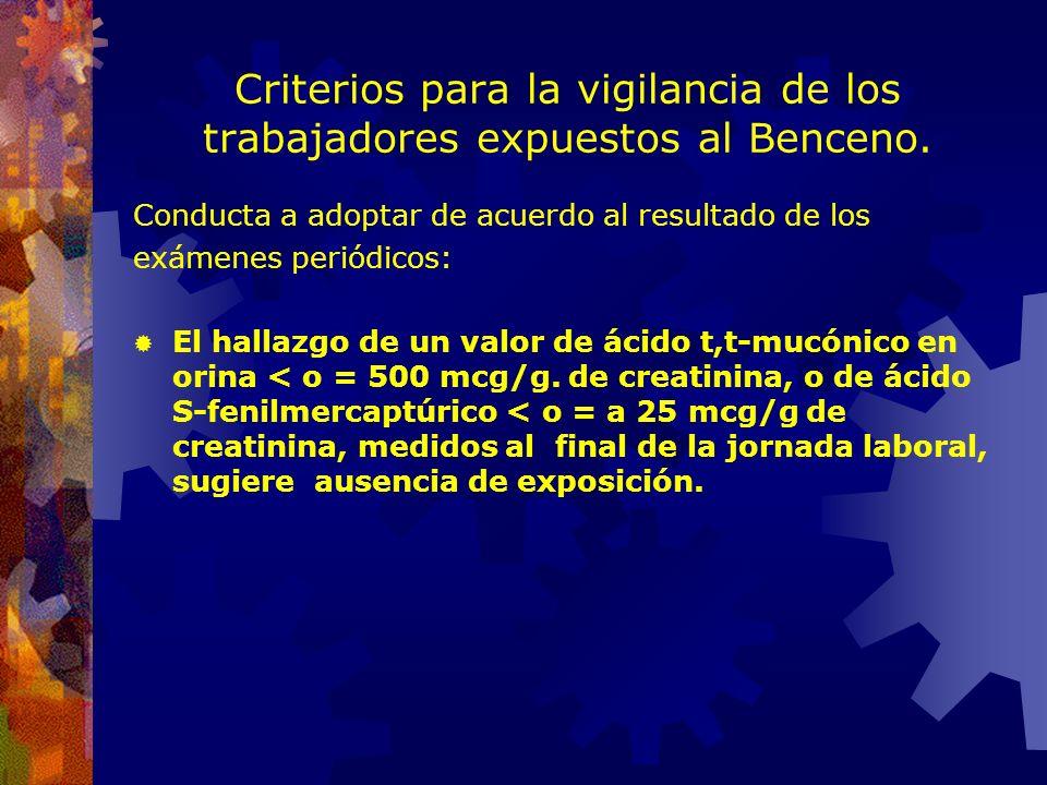 Criterios para la vigilancia de los trabajadores expuestos al Benceno. ANUALMENTE: EXAMEN CLÍNICO, con orientación: DERMATOLÓGICA. Dermatitis irritati