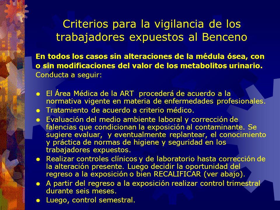 Criterios para la vigilancia de los trabajadores expuestos al Benceno Modificaciones del hemograma: Eritrocitos < de 3.900.000 x mm3, Hematocrito < de