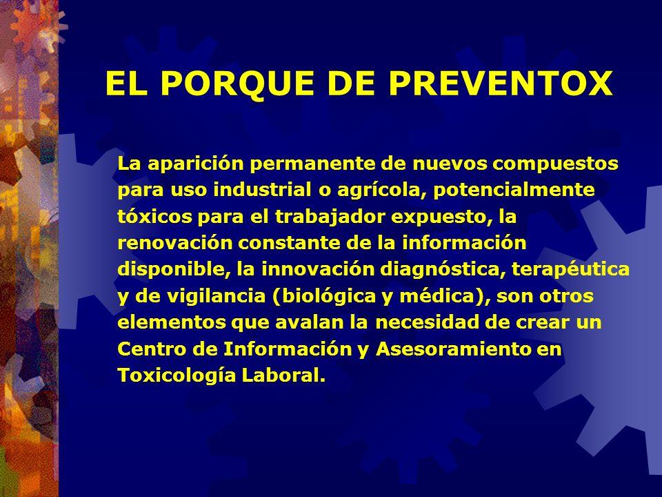 EL PORQUE DE PREVENTOX En el caso de la exposición a sustancias químicas peligrosas (tóxicos), aquello se hace más evidente dado que el número de esto