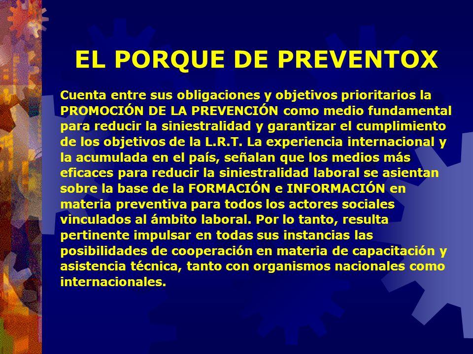 EL PORQUE DE PREVENTOX En el año 2002 se crea, por medio de la Resolución SRT 311, PREVENTOX, Centro de Información y Asesoramiento en Toxicología Lab