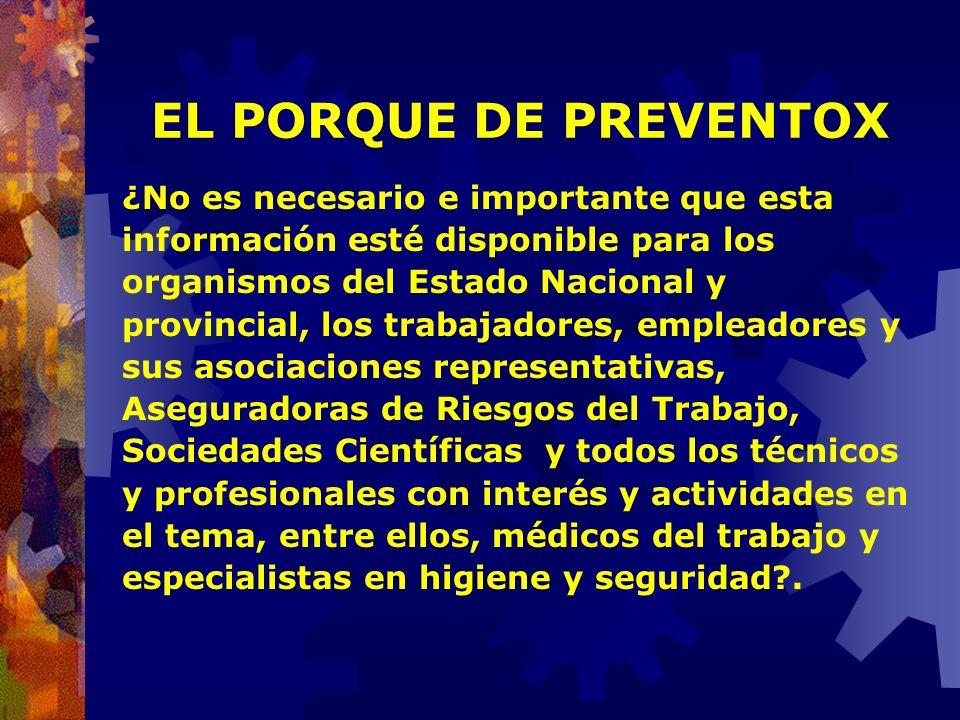 EL PORQUE DE PREVENTOX Cuenta entre sus obligaciones y objetivos prioritarios la PROMOCIÓN DE LA PREVENCIÓN como medio fundamental para reducir la sin