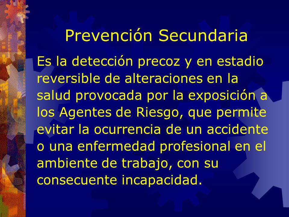 Prevención Primaria Al hablar de Prevención Primaria estamos refiriéndonos a la eliminación o control de los Factores de Riesgo en los Ambientes labor