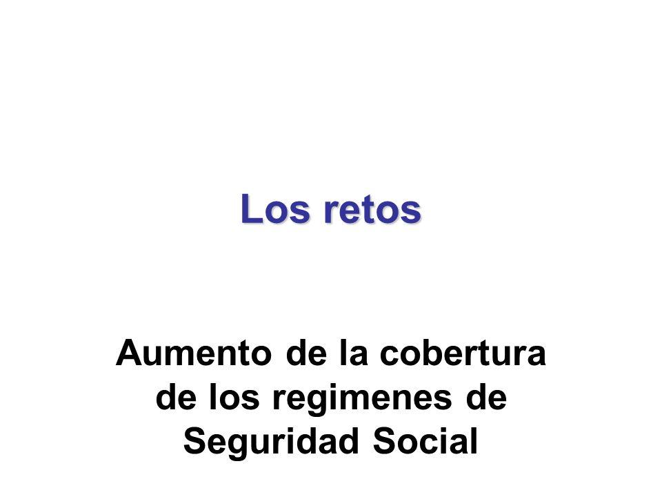 Los retos Aumento de la cobertura de los regimenes de Seguridad Social