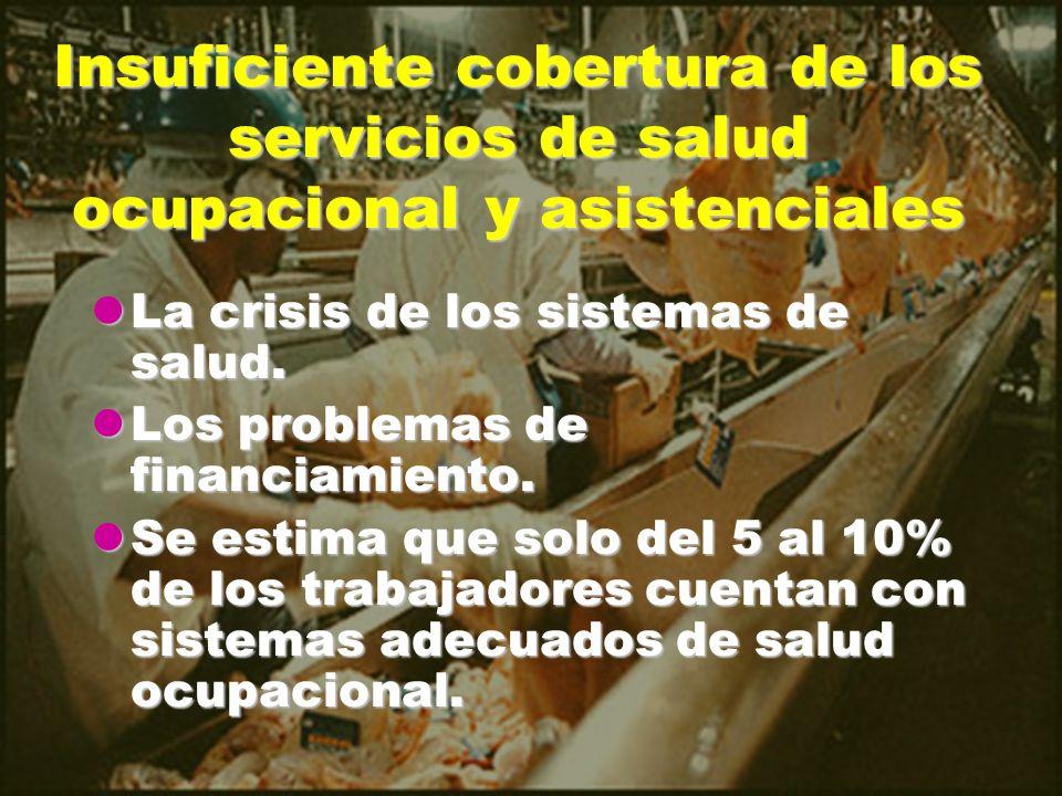 Insuficiente cobertura de los servicios de salud ocupacional y asistenciales lLa crisis de los sistemas de salud.
