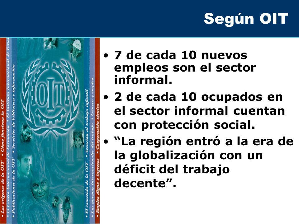 Según OIT 7 de cada 10 nuevos empleos son el sector informal.