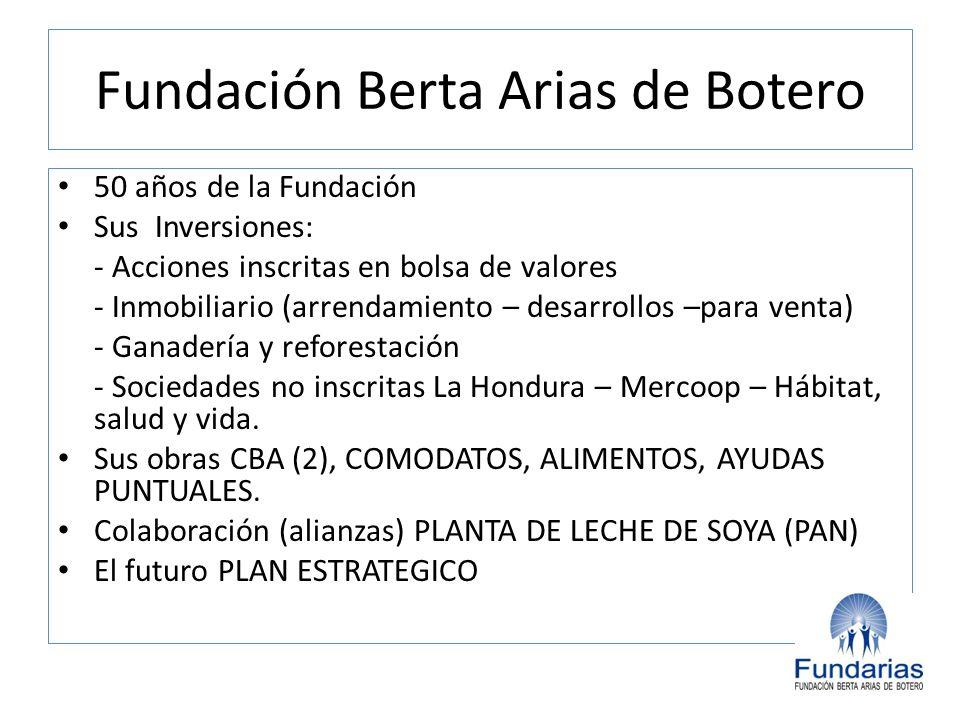 Fundación Berta Arias de Botero 50 años de la Fundación Sus Inversiones: - Acciones inscritas en bolsa de valores - Inmobiliario (arrendamiento – desa
