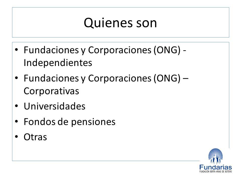 Quienes son Fundaciones y Corporaciones (ONG) - Independientes Fundaciones y Corporaciones (ONG) – Corporativas Universidades Fondos de pensiones Otra