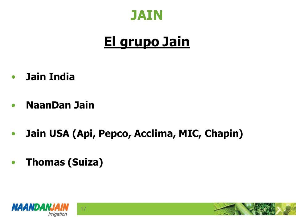 R-220 G-241 B-181 17 R-233 G-122 B-25 R-0 G-139 B-66 R-47 G-76 B-156 Logo colors Font & bullets R-108 G-171 B-51 Background 17 R-99 G-101 B-103 Product Line Colors R-230 G-0 B-0 R-242 G-104 B-0 R-132 G-6 B-132 R-233 G-222 B-25 JAIN El grupo Jain Jain India NaanDan Jain Jain USA (Api, Pepco, Acclima, MIC, Chapin) Thomas (Suiza)