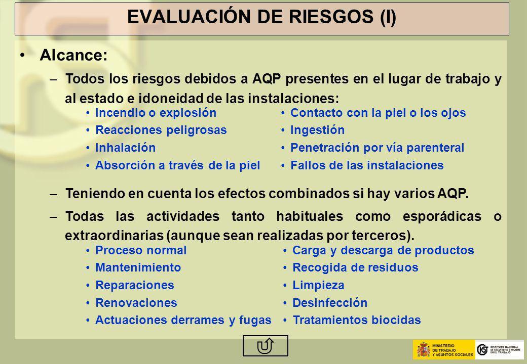 EVALUACIÓN DE RIESGOS (I) Alcance: –Todos los riesgos debidos a AQP presentes en el lugar de trabajo y al estado e idoneidad de las instalaciones: –Te