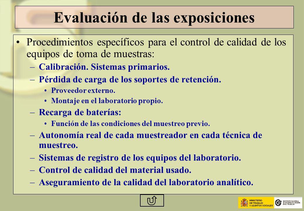 Evaluación de las exposiciones Procedimientos específicos para el control de calidad de los equipos de toma de muestras: –Calibración. Sistemas primar