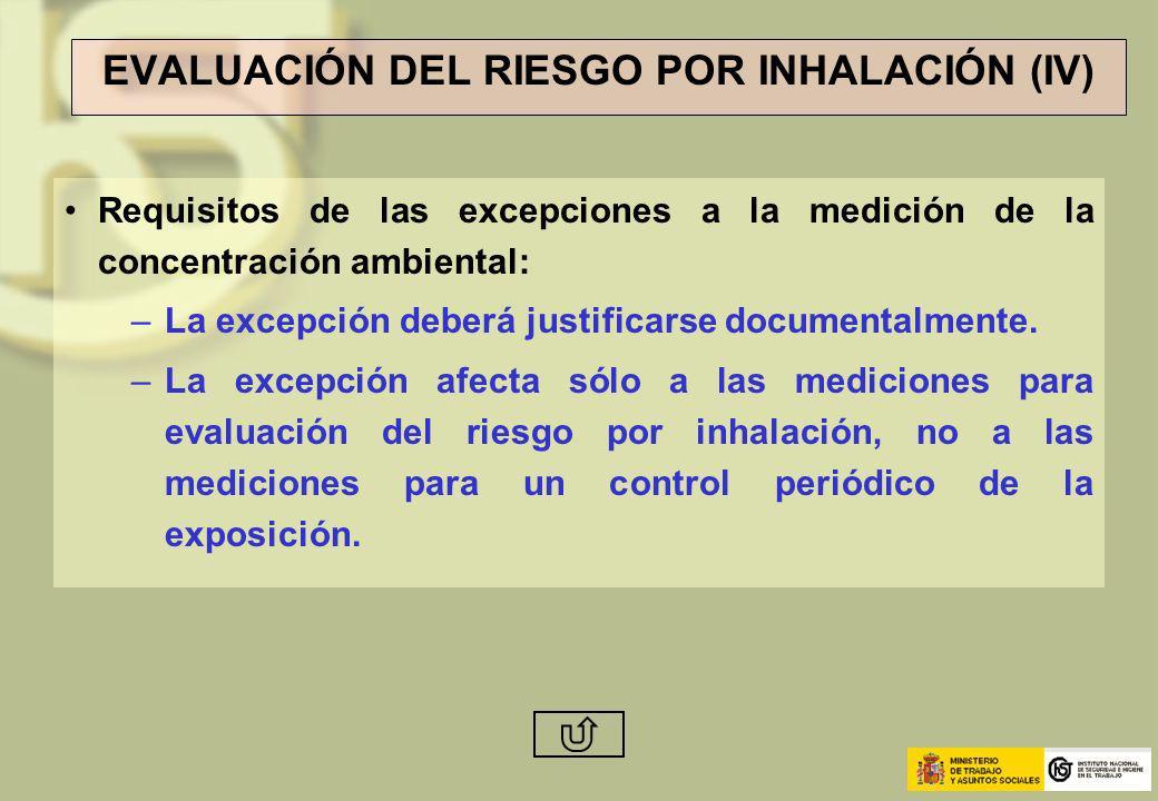 EVALUACIÓN DEL RIESGO POR INHALACIÓN (IV) Requisitos de las excepciones a la medición de la concentración ambiental: –La excepción deberá justificarse