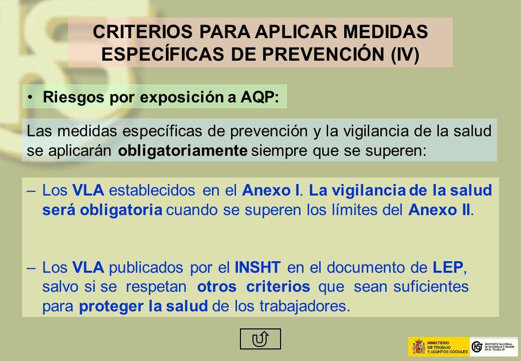 CRITERIOS PARA APLICAR MEDIDAS ESPECÍFICAS DE PREVENCIÓN (IV) Riesgos por exposición a AQP: Las medidas específicas de prevención y la vigilancia de l