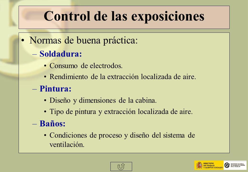 Control de las exposiciones Normas de buena práctica: –Soldadura: Consumo de electrodos. Rendimiento de la extracción localizada de aire. –Pintura: Di