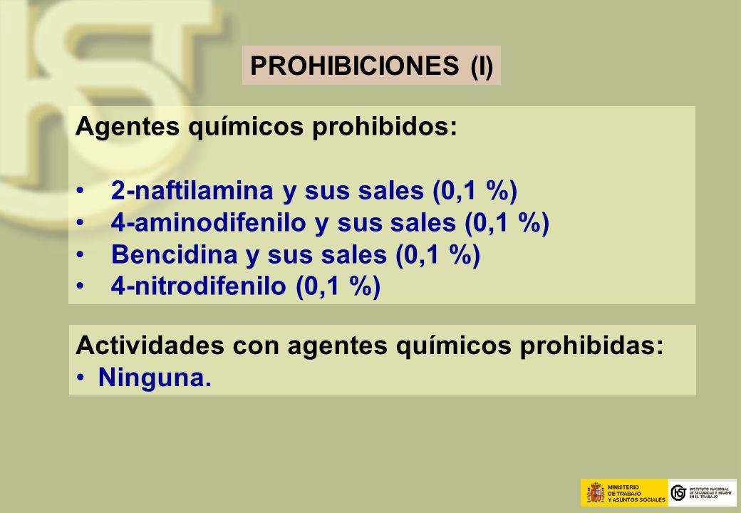 PROHIBICIONES (I) Agentes químicos prohibidos: 2-naftilamina y sus sales (0,1 %) 4-aminodifenilo y sus sales (0,1 %) Bencidina y sus sales (0,1 %) 4-n